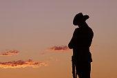 ANZAC Soldier Statue, Evening Light, Sydney, Australia