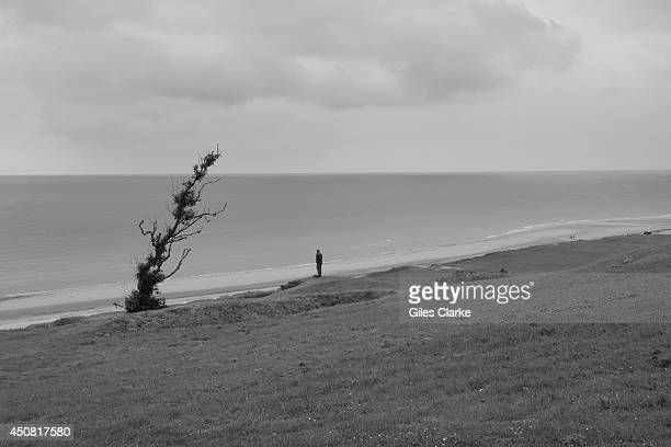 A soldier stops to pay his respect while looking over Omaha beach June 2 2014 in Normandy France The 70th anniversary of DDay attracts groups of...