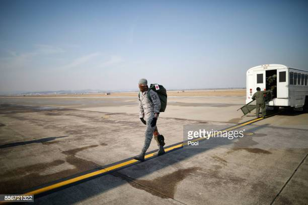 S soldier takes part in a Vigilant air combat exercise on December 6 2017 in Pyeongtaek South Korea The largestscale warplanes and military personnel...