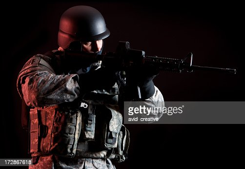 soldier under cover of darkness stock photo getty images. Black Bedroom Furniture Sets. Home Design Ideas