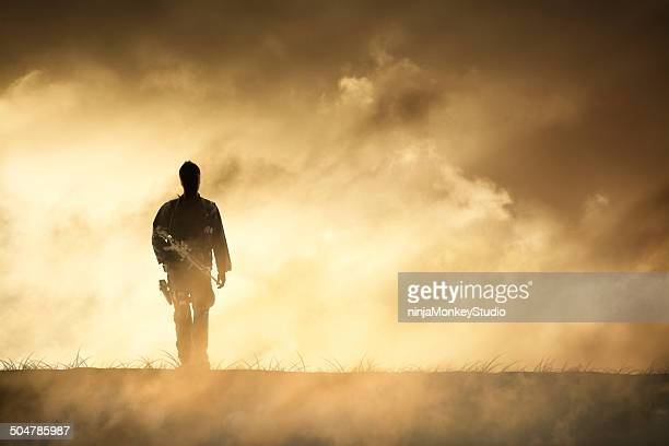 Soldier Walks Away from Dramatic Firey Horizon