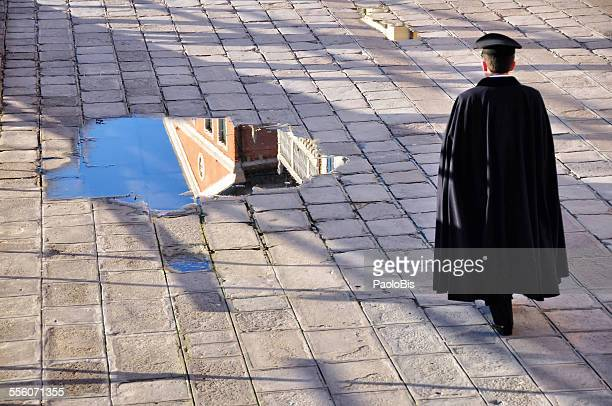A soldier walks in Venice