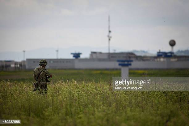 A soldier watches outside the Mexican Maximum Security Prison of 'El Altiplano' during an operation on the surroundings of Mexican Maximum Security...