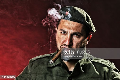 Soldier with a cigar : Stock Photo