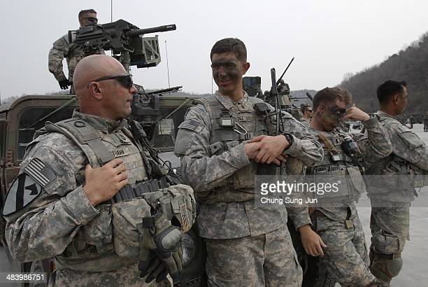S soldiers 25th Infantry Division participate in United States and South Korean Joint live fire Exercise at Rodriguez Range on April 11 2014 in...