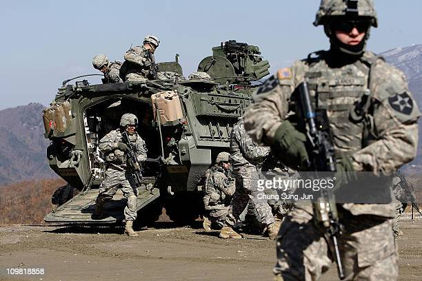 S soldiers 2nd Infantry Division Stryker Battalion Combat Team from Fort Lewis Washington participate in Key Resolve/Foal Eagle exercise on March 7...