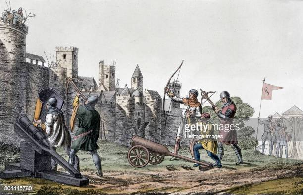 Soldiers and artillery of the 15th century besieging a walled town 19th century Plate 16 from The History of the Nations Artist Unknown