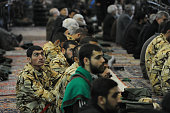 Soldiers and members of the Revolutionary Guard are among several thousand Iranians attend Friday prayers in Tehran Iran on January 29 2016 Since...