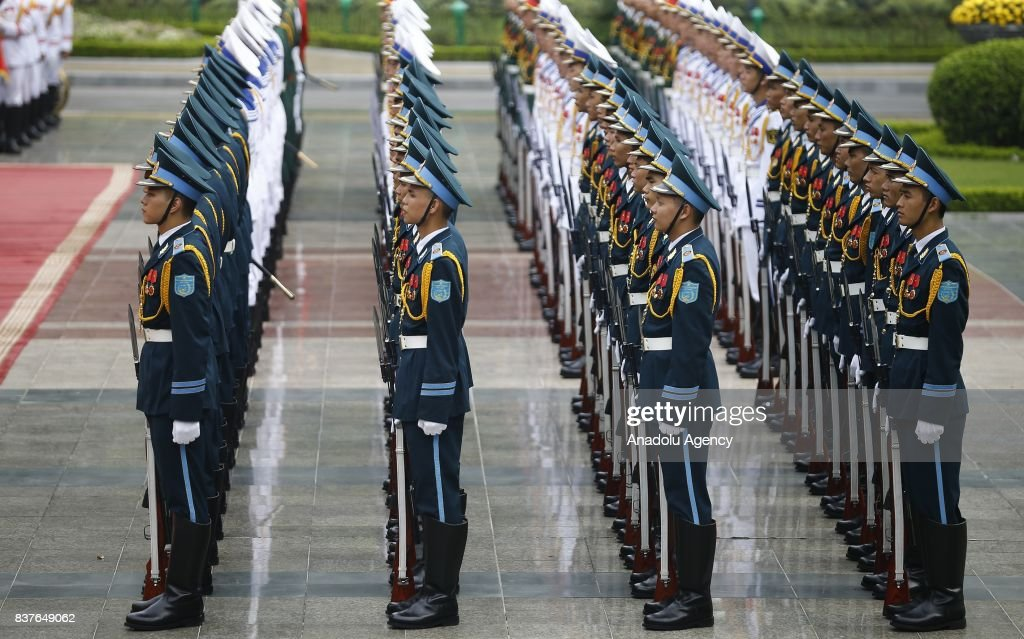 Soldiers are seen during the official welcoming ceremony for Prime Minister of Turkey, Binali Yildirim (not seen) in Hanoi, Vietnam on August 23, 2017.