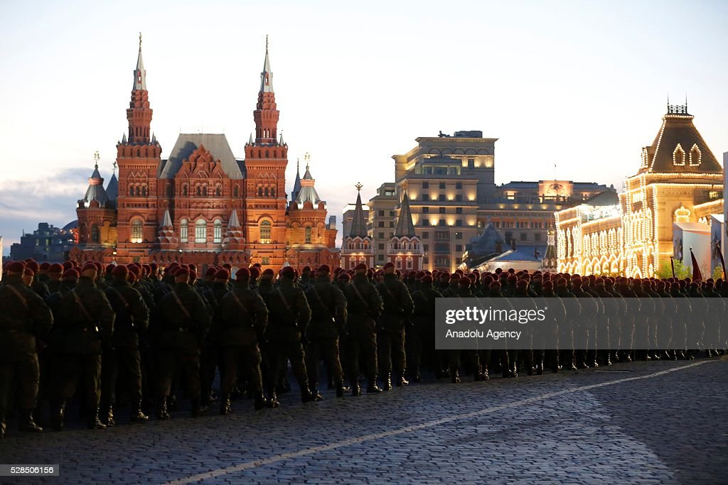 Soldiers are seen during the rehearsal of a military parade which will be held within the celebrations for the 9th of May Victory Day in Moscow, Russia on May 05, 2016.