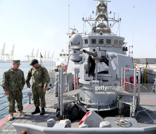 Soldiers are seen on the deck of a warship at Hamad Port in Doha Qatar on June 16 2017 After 12 billion dollars worth F35 fighter jet agreement...