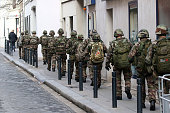 Soldiers are seen patrolling a street of Saint Denis on November 18 2015 in SaintDenis France French Police special forces raided an apartment...