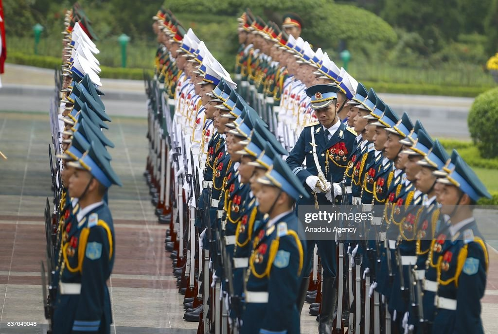 Soldiers are seen prior to the official welcoming ceremony for Prime Minister of Turkey, Binali Yildirim (not seen) in Hanoi, Vietnam on August 23, 2017.