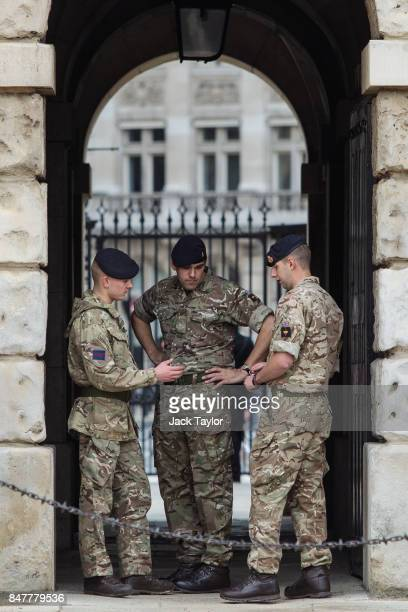 Soldiers assemble in Horse Guards Parade on September 16 2017 in London England An 18yearold man has been arrested in Dover in connection with...