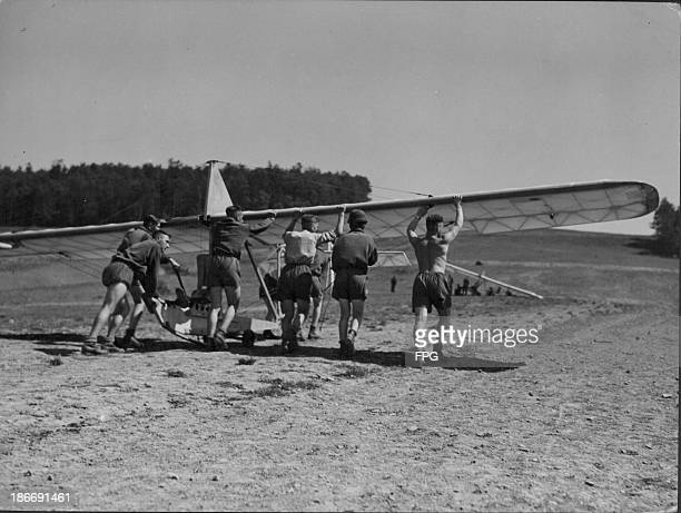 Soldiers at the glider training school in the village of Harsberg during World War Two Germany circa 19391945