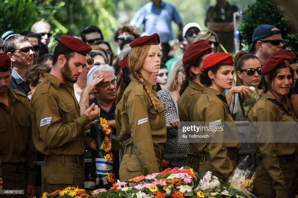 Soldiers attend the funeral of Staff Sgt. Guy Algranati on July 31, 2014 in Tel Aviv, Israel. Since the beginning of Operation Protective Edge in Gaza, more than 50 Israeli soldiers have been killed along with over 1000 Palestinians.