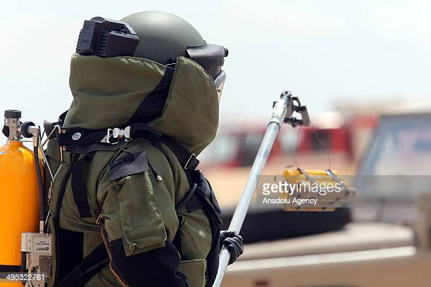 Soldiers attend the simulated chemical attack exercise during the 'Eager Lion' military drill in Amman Jordan on June 02 2014 Apart from Jordanian...