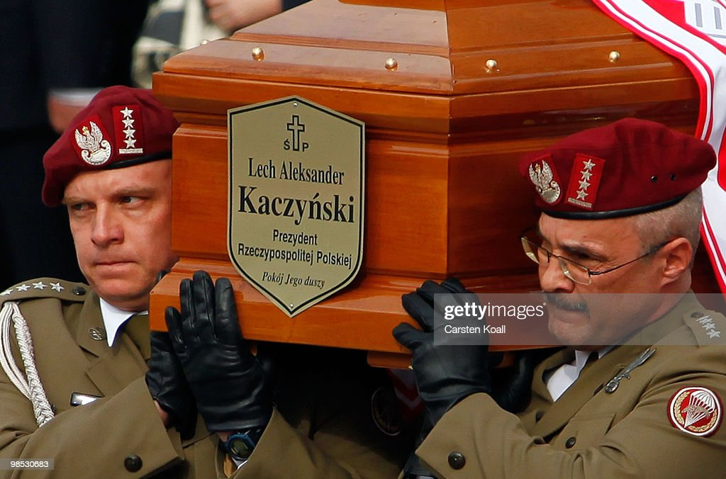 Soldiers carry during a religious and military procession transports the coffin of late Polish President Lech Kazcynski from the St Mary's Basilica...