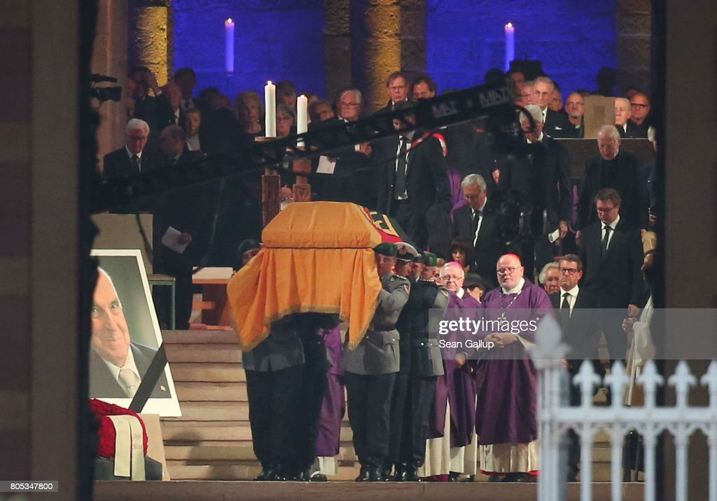 Soldiers carry the coffin of former German Chancellor Helmut Kohl following a requiem at Speyer cathedral on July 1, 2017 in Speyer, Germany. Kohl was chancellor of Germany for 16 years and led the country from the Cold War through to reunification. He died on June 16 at the age of 87.