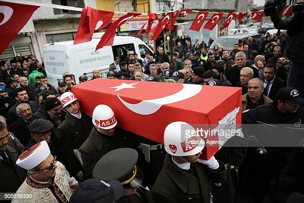 Soldiers carry the coffin of Gendarme Specialized Sergeant Ugur Sahin who was martyred during an operation against PKK terrorist organization in the...