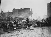 Soldiers clearing away debris two days after the most destructive German air raid of the 'Coventry Blitz' 16th November 1940 The raid killed...