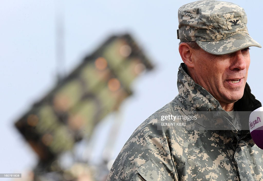 US soldiers commander colonel Steve Richmond speaks during a press conference near a Patriot missile system at a Turkish military base in Gaziantep on February 5, 2013. The United States, Germany and the Netherlands committed to send two missile batteries each and up to 400 soldiers to operate them after Ankara asked for help to bolster its air defences against possible missile attack from Syria. AFP PHOTO / BULENT KILIC