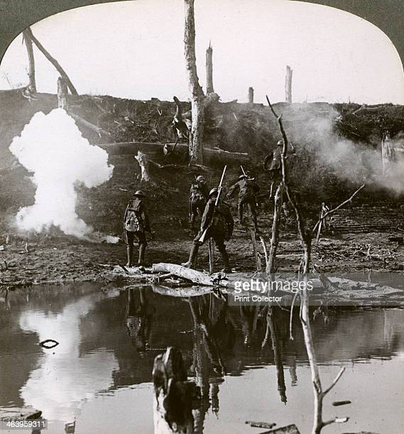 Soldiers crossing the river Ancre Battle of the Somme France World War I 1916 Scene during the Allied attack on Thiepval Ridge Stereoscopic card...