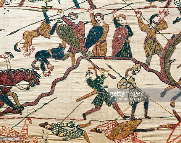 Soldiers fighting detail of Queen Mathilda's Tapestry or Bayeux Tapestry depicting Norman conquest of England in 1066 France 11th century