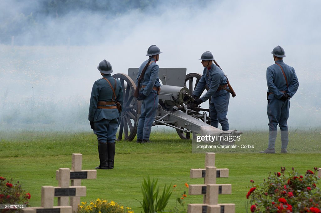 Soldiers fire canons during Somme Centenary Commemoration on July 1, 2016 in Thiepval, France.