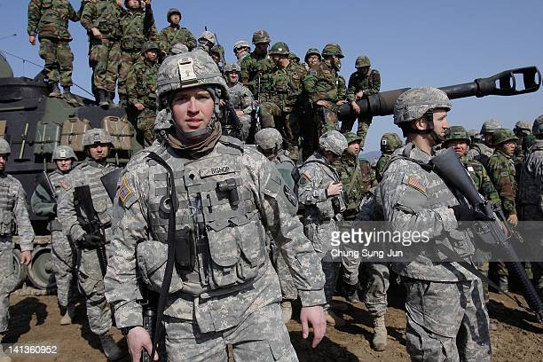 S soldiers from 145th Field Artillery Battalion deployed from the United States and South Korean soldiers participate in the Foal Eagle training...