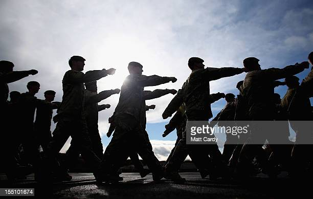 Soldiers from 1st Battalion The Royal Anglian Regiment march from the parade ground after they received their Afghanistan Operational Service Medals...