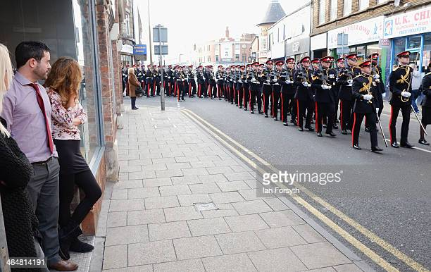 Soldiers from 1st Regiment Royal Horse Artillery parade through the streets of Doncaster to mark their recent return from Afghanistan on January 24...
