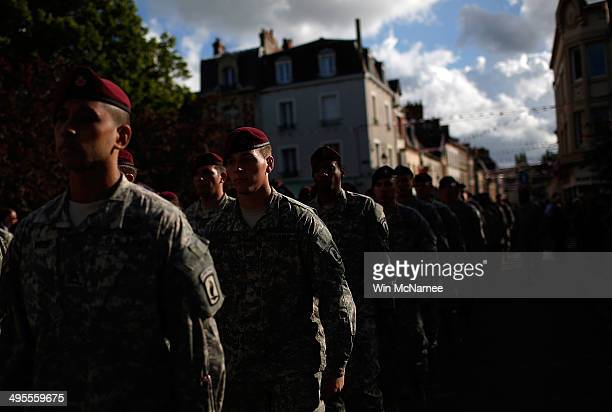 S soldiers from the 101st Airborn Division march in a military parade marking the week of DDay June 4 2014 in Carentan France June 6th is the 70th...