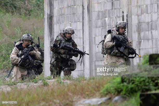 S soldiers from the 2nd Armored Brigade Combat Team 1st Cavalry Division take part during the Warrior Strike VIII exercise at the Rodriguez Range on...