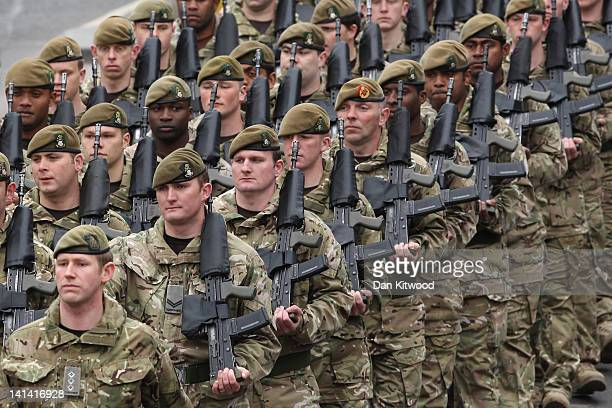 Soldiers from the 3rd Battalion the Yorkshire Regiment march during a predeployment parade on March 16 2012 in Warminster England The parade will be...