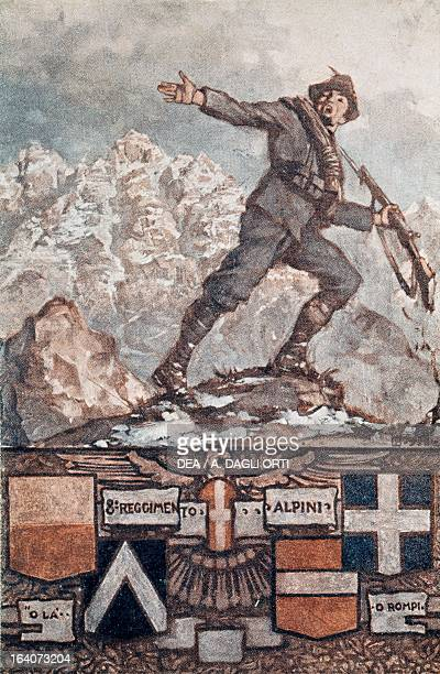 Soldiers from the 8th Alpini regiment launching an attack Italian propaganda postcard World War I Italy 20th century Rovereto Castello Museo Storico...