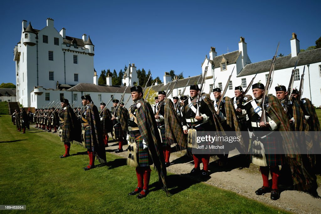 Soldiers from The Atholl Highlanders take part in the annual parade of Europe's last remaining private army on May 25, 2013 in Blair Atholl, Scotland. The regiment is now in its 175th year of existence after Lord Glenlyon first took a bodyguard of men to a medieval tournament at Eglinton in Ayrshire in 1839. Five years later, they mounted a guard for Queen Victoria's stay at Blair Castle, at which point, in 1844, exactly 100 years since Prince Charles Edward Stuart landed in Moidart, they were granted the Queen's colours and the right to legally bear arms as a private force a unique honour that remains in place today.
