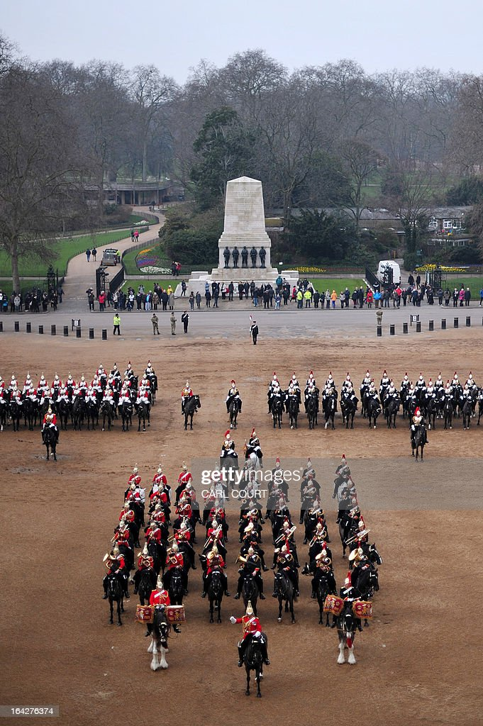 Soldiers from the Household Cavalry Mounted Regiment parade on Horse Guards in central London on March 22, 2013 during the Major General's inspection - a test which the unit has to pass in order to participate in state ceremonial duties in 2013.