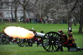 Soldiers from the King's Troop Royal Horse Artillery perform a ceremonial 41 Gun Royal Salute to mark the 87th birthday of Britain's Queen Elizabeth...