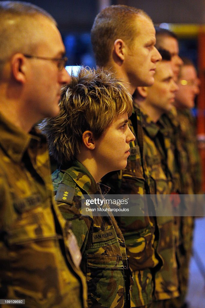 Soldiers from the Netherlands and Germany stand to attention as they are transfered to Turkey from Eindhoven Military Airport on January 8, 2013 in Eindhoven, Netherlands. This advance party of Dutch and German troops will fly to Turkey to prepare for the arrival of the Patriots with the main body of European soldiers arriving later in the month.