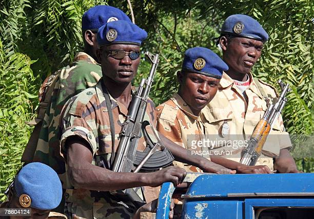 Soldiers guard the courthouse during the trial of French charity Zoe's Ark members in N'Djamena 21 December 2007 Six French charity workers went on...