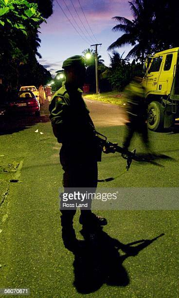 Soldiers guard the streets of Suva on day14 of the military coup led by self appointed Fijian Prime Minister George Speight