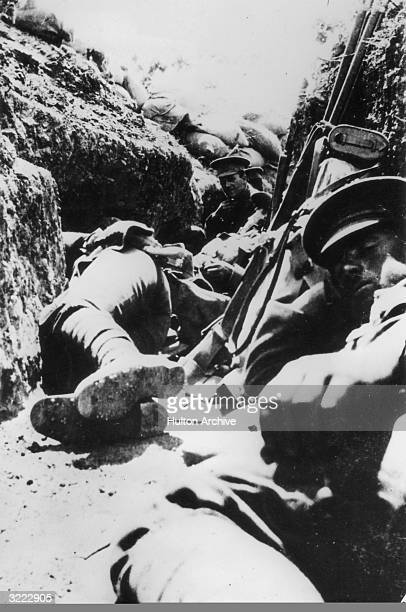 Soldiers in a trench on Walker's Ridge Gallipoli during World War I 30th April 1915