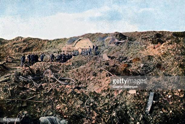 Soldiers in the Fort de Souville which was destroyed by German artillery September 1916 Battle of Verdun Western Front World War I France Autochrome...