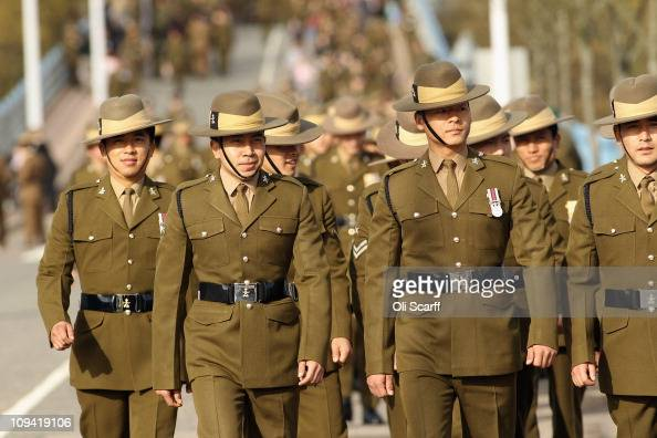Soldiers in the Queen's Gurkha Engineers make their way to the parade square of Invicta Park Barracks on February 24 2011 in Maidstone England The...