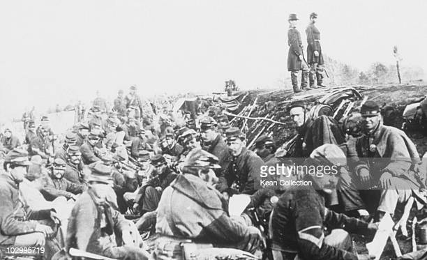 Soldiers in trenches before the battle in Petersburg Virginia circa 1865