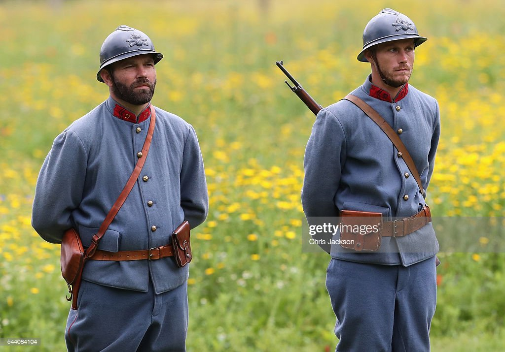Soldiers in WW1 uniform during Somme Centenary Commemorations on July 1, 2016 in Thiepval, France. Today marks exactly 100 years since the beginning of the battle of the Somme.