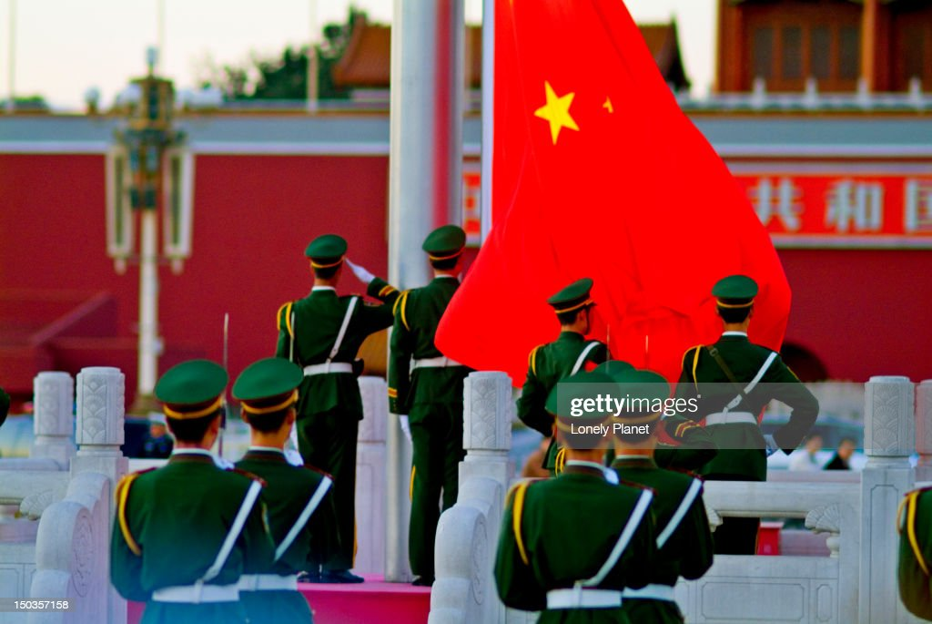 Soldiers Lowering of National Flag in Tiananmen Square.