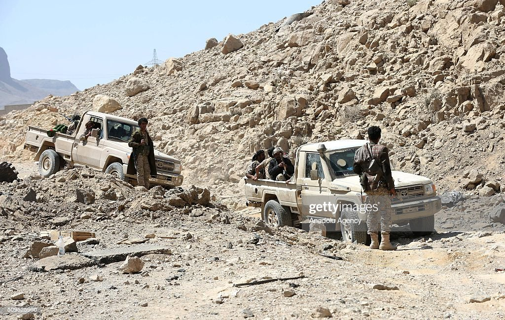 Soldiers loyal to President of Yemen Abd Rabbuh Mansur Hadi patrol around the 312th Brigade quarters after taking its control from Houthis and Yemen's former President, Ali Abdullah Saleh's forces at Farda district in Sanaa, Yemen on February 11, 2016.