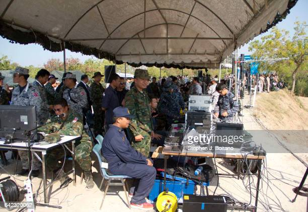 SATTAHIP CHONBURI THAILAND Soldiers man a command center during the ongoing USThai joint military exercise titled 'Cobra Gold' on Hat Yao beach in...